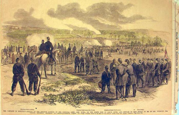 Union troops deploying near the L&N Railroad bridge, Hart County