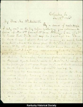 Theodore O'Hara letter to Mrs. Richard Wintersmith, January 15, 1865