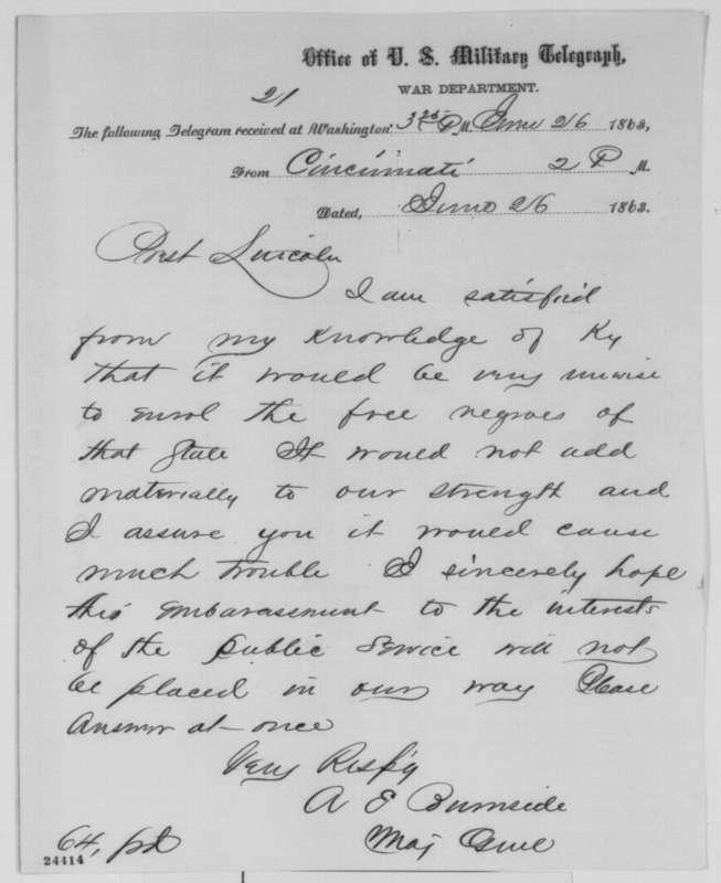 Gen. Burside to President Lincoln