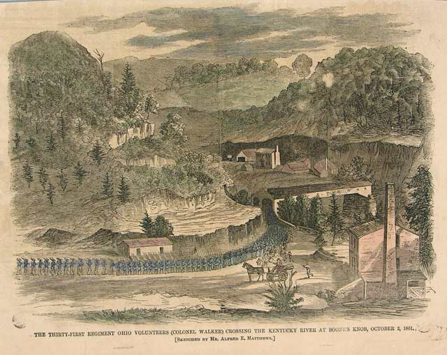 Union soldiers marching near future site of Camp Nelson