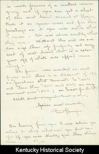 Letter from Paul Sawyier to John King