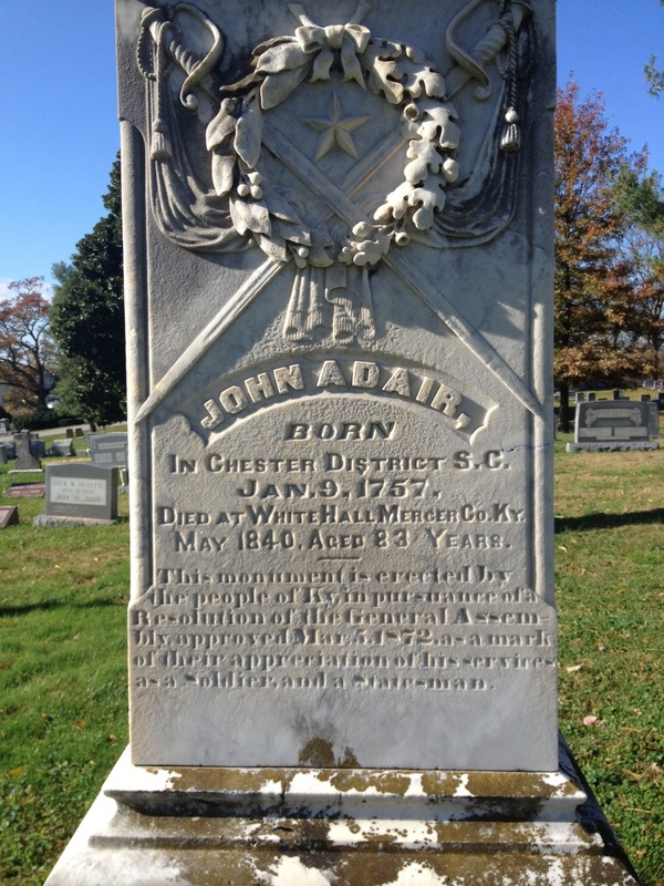 Inscription on Governor John Adair's grave