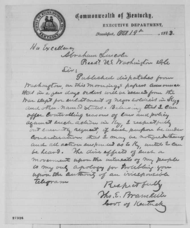 Gov. Bramlette to President Lincoln