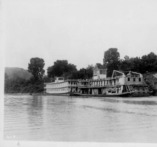 Bryant's Showboat and the Valley Belle sternwheeler at the Gratz, Kentucky, wharf