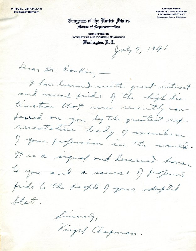 Letter from Virgil Chapman