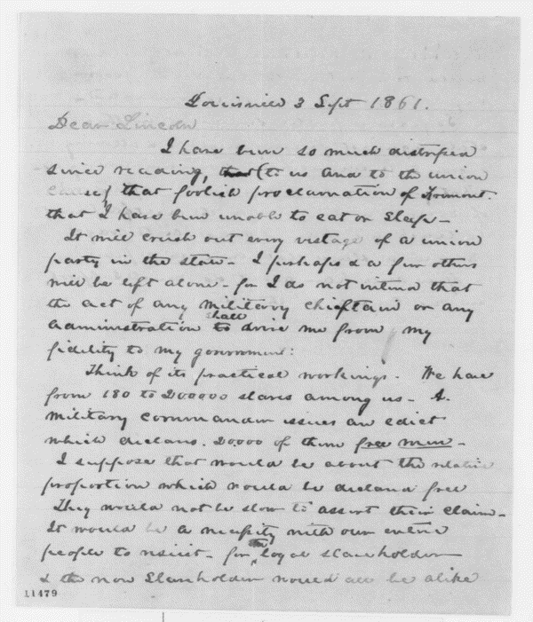 Joshua Speed to Abraham Lincoln