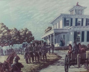 Drawing of Civil War troops at Elmwood