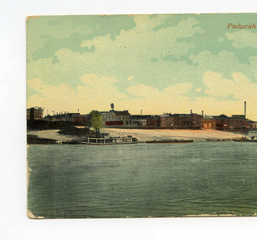 "Hand-Painted Post Card titled ""Paducah from Owen's Island"""