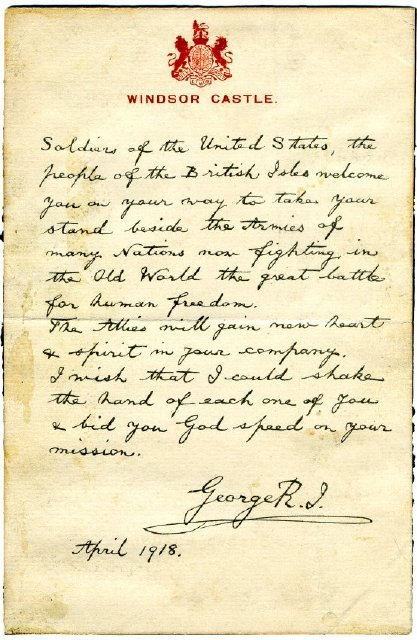 A Note from King George