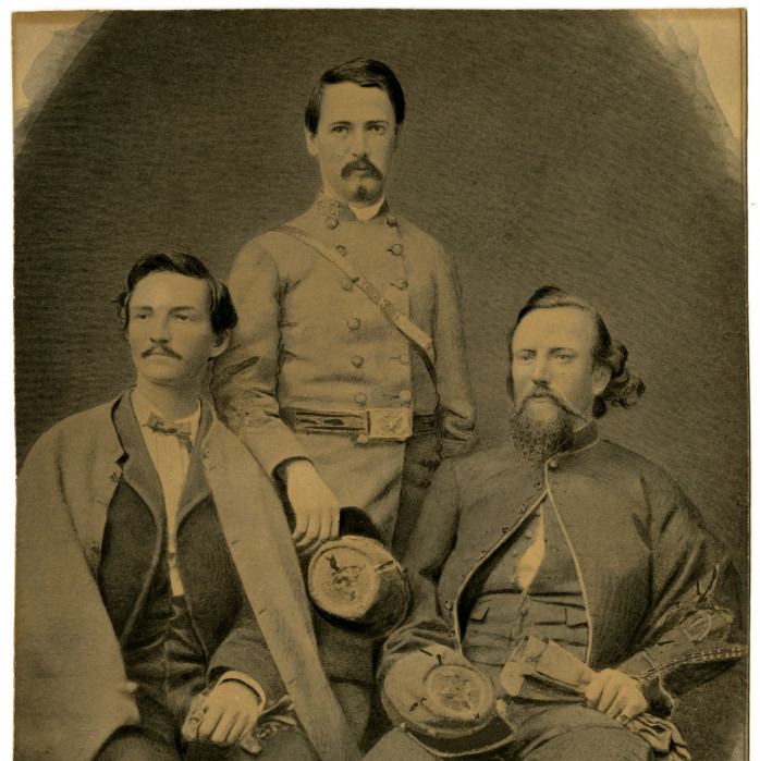 Portrait of John Hunt Morgan, George B. Eastin, and Thomas Henry Hines