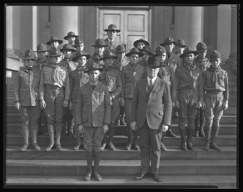 A troop of Boy Scouts in the 1930s