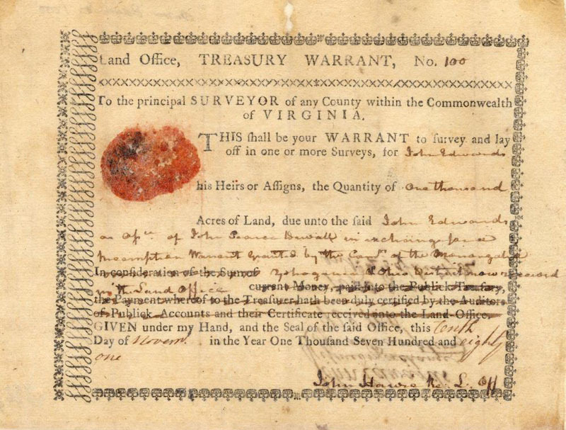 1781 Virginia Land Warrant