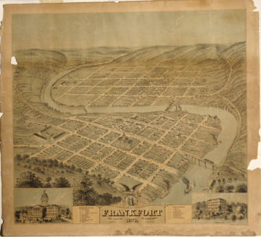 1871 Frankfort Birds-Eye View Map