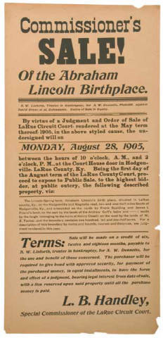 Lincoln Birthplace Sale Broadside, 1905