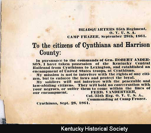 Cynthiana, Kentucky Broadside