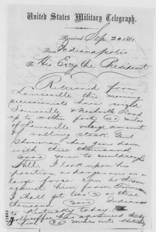 Indiana Governor Oliver Morton letter to President Lincoln