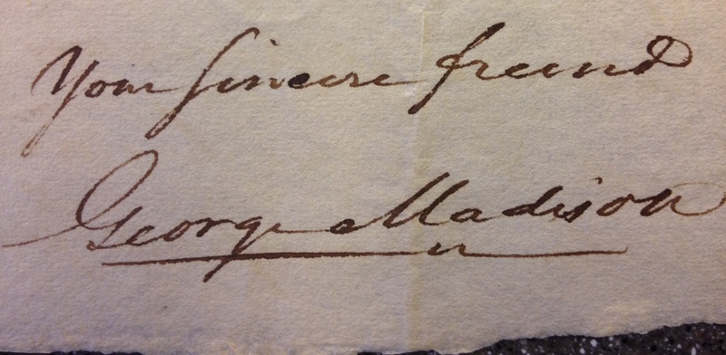 Signature of Governor George Madison