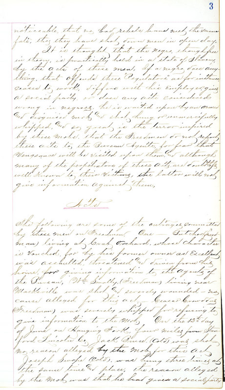 Freedmen's Bureau Report