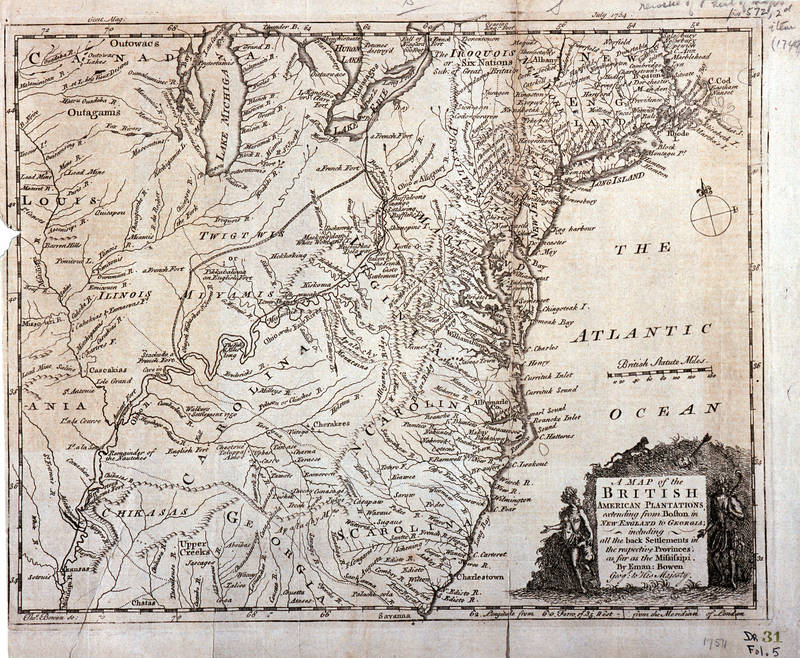 1754 Map of British Plantations