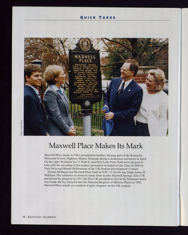Maxwell Place marker dedication