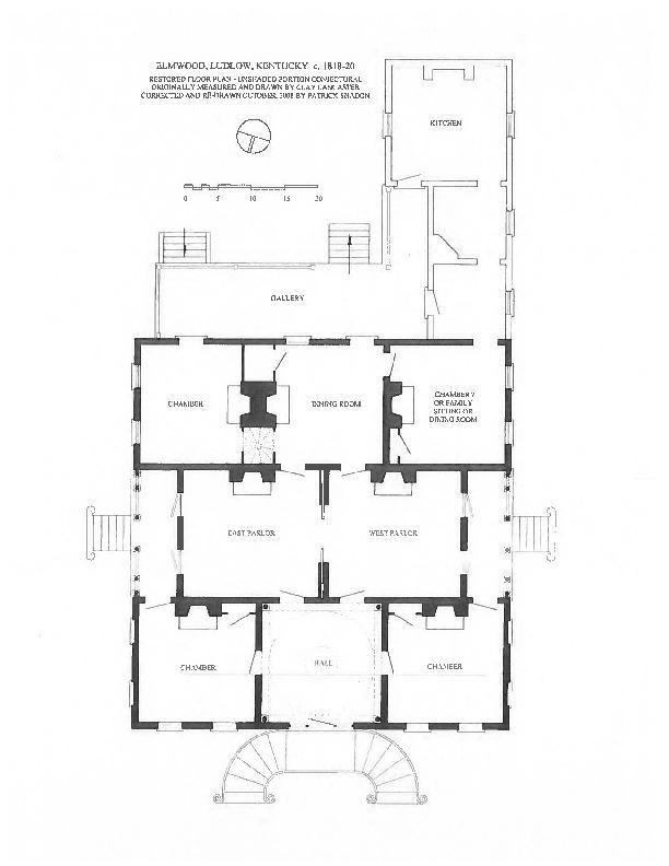Reconstructed floorplan of Elmwood Hall